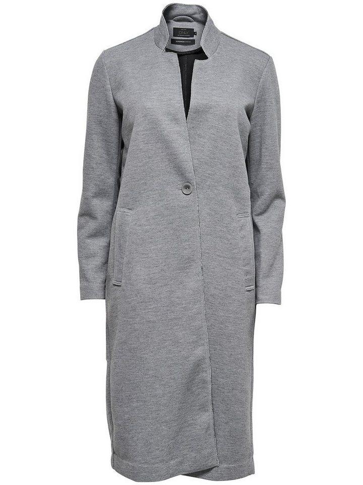 Only Lange Mantel in Light Grey Melange