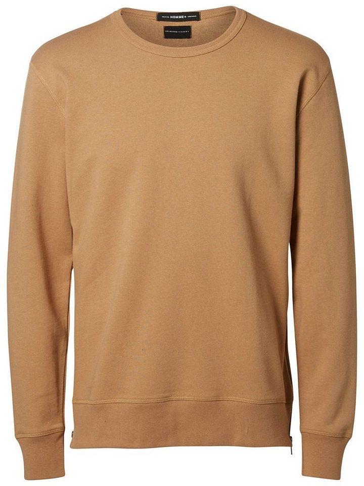 Selected Crew-Neck- Sweatshirt in Tigers Eye