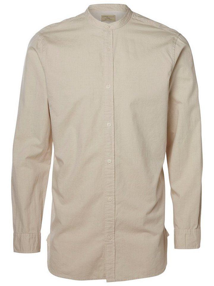 Selected China-Kragen- Regular fit Hemd in White Pepper