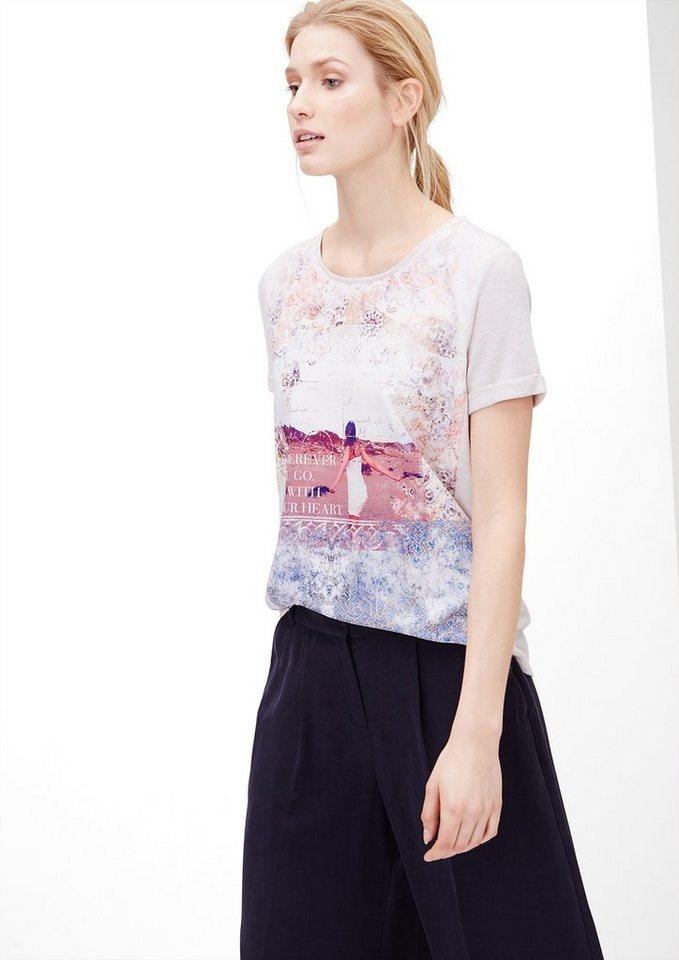 s.Oliver Feinstrick-Shirt mit Blusenfront in creme melange placed