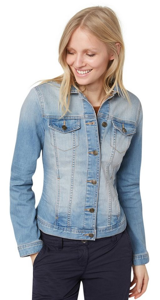 TOM TAILOR Jacke »Jeans-Jacke mit Waschung« in super stone blue den