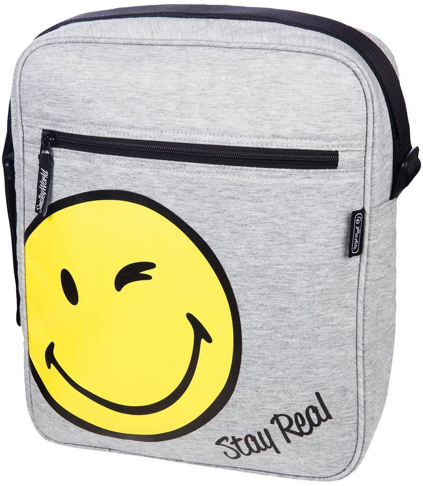 Herlitz Umhängetasche aus Sweatshirt Stoff, »Smiley World Fancy« in grau
