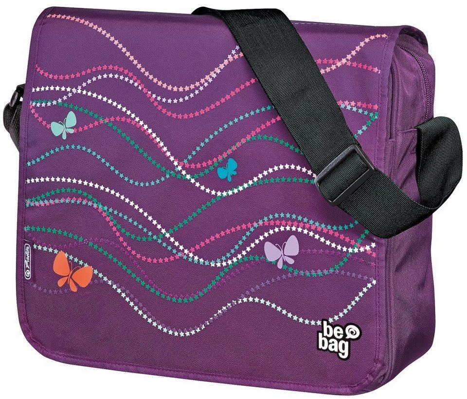 Herlitz Umhängetasche, »be.bag Messenger Bag, Butterfly Power« in lila