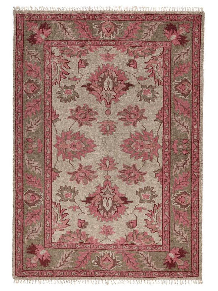 Hochflor-Teppich in rosé/grau