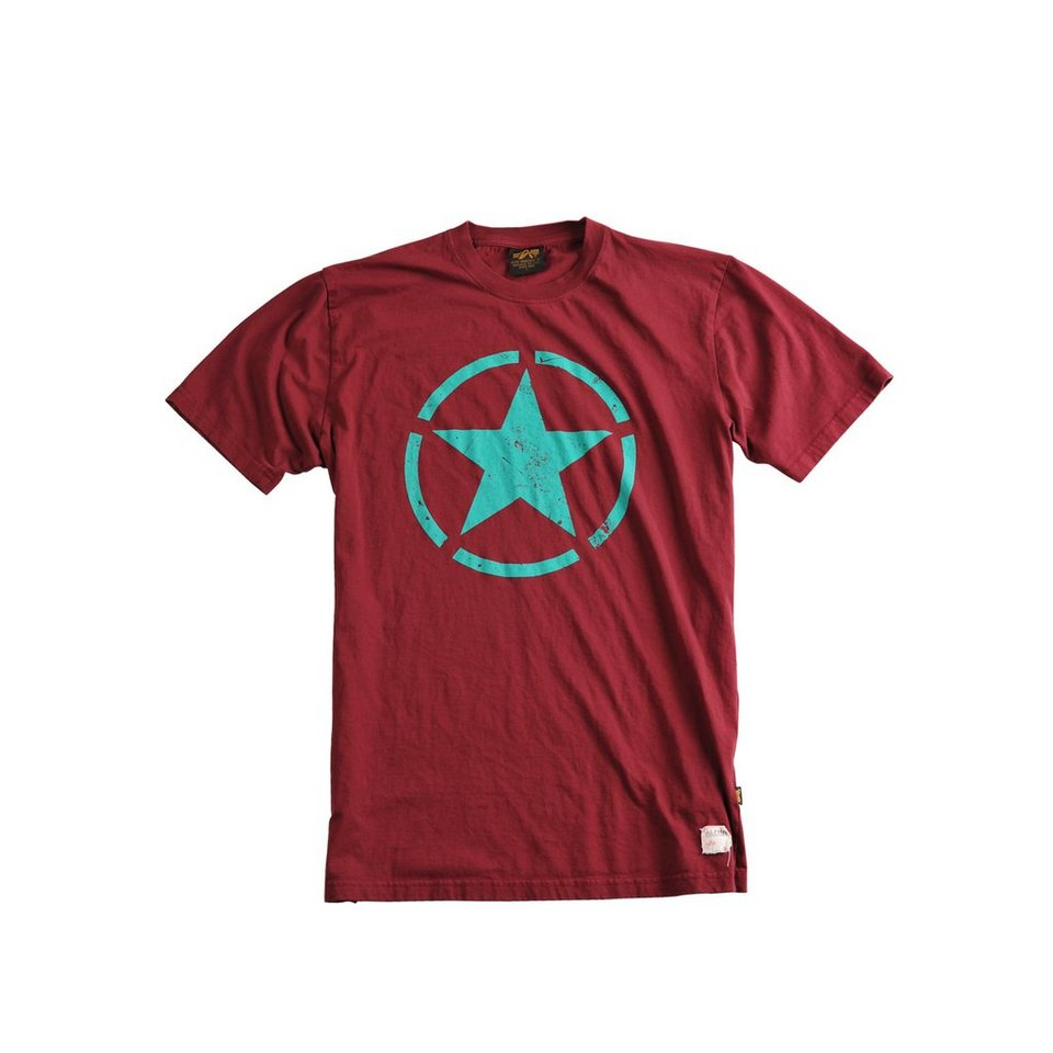 ALPHA INDUSTRIES T-Shirt »Star T« in burgundy