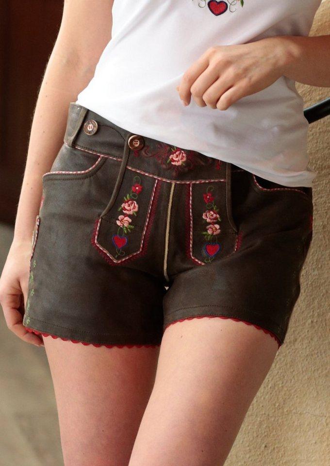 Trachtenlederhose kurz Damen mit Stickerei, Country Line in dunkelbraun/rot