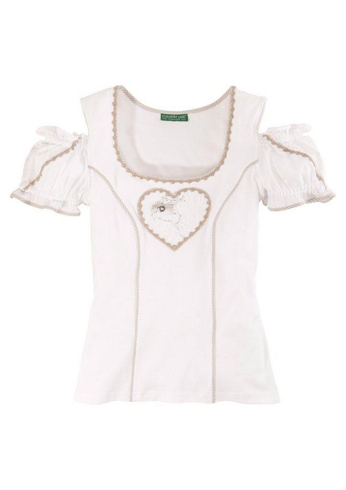 Trachtenshirt Damen mit Applikation, Country Line in weiss/natur