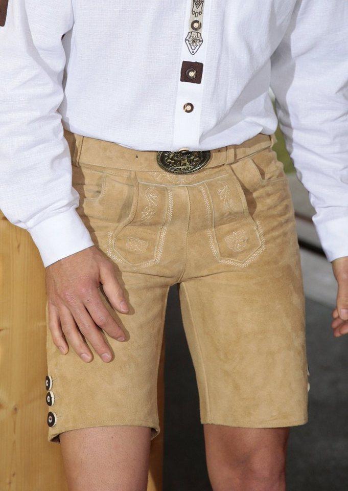 Trachtenlederhose kurz Herren mit Stickelementen, Country Line in hellbraun