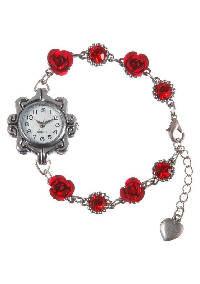 Trachtenuhr Damen mit Schmucksteine, KABE Leder-Accessoires in silber/rot