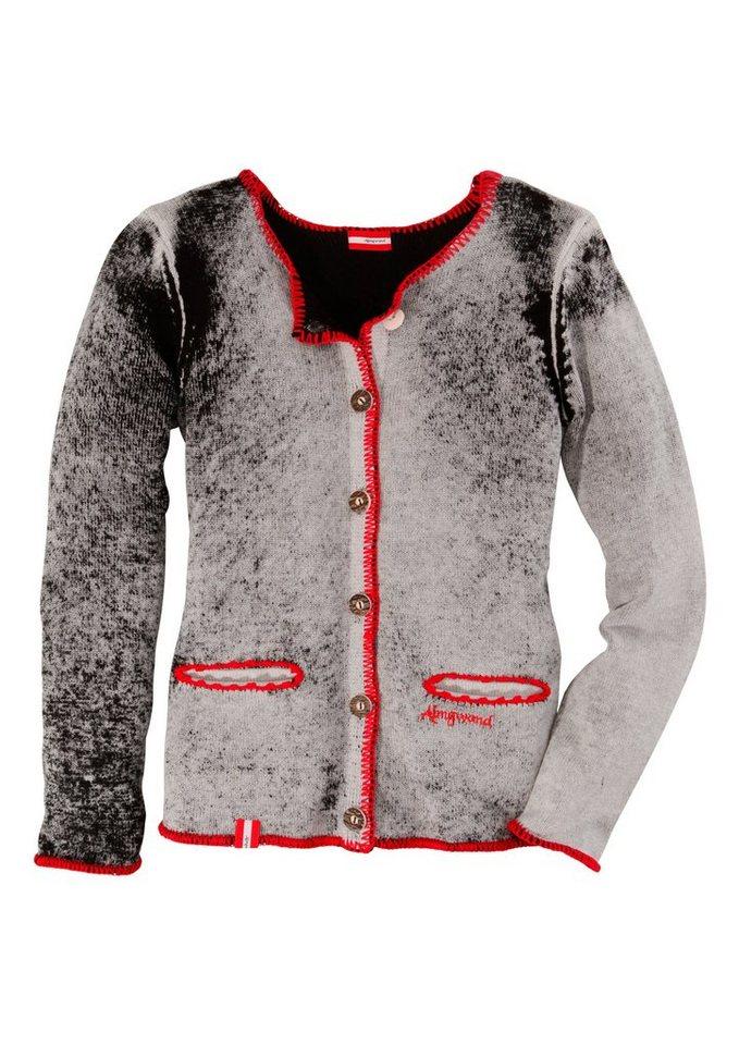 Trachtenstrickjacke Damen im Used Look mit Ziersteinen, Hohenstaufen in grau/schwarz
