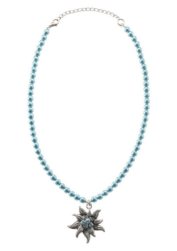 Trachtenhalskette Damen mit Metallanhänger in blau