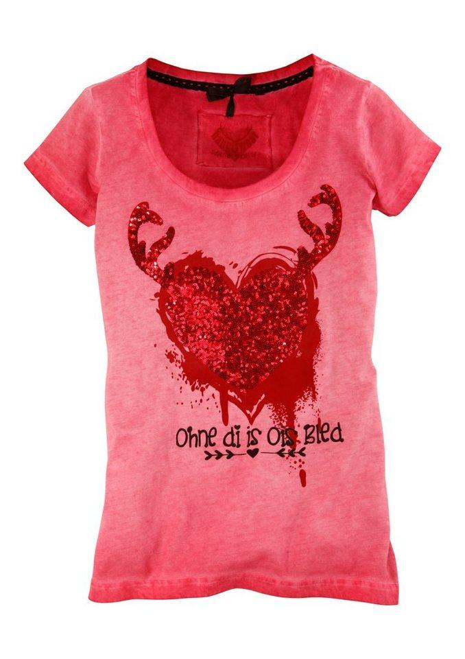 Trachtenshirt Damen in Used-Look Optik, Marjo in rot