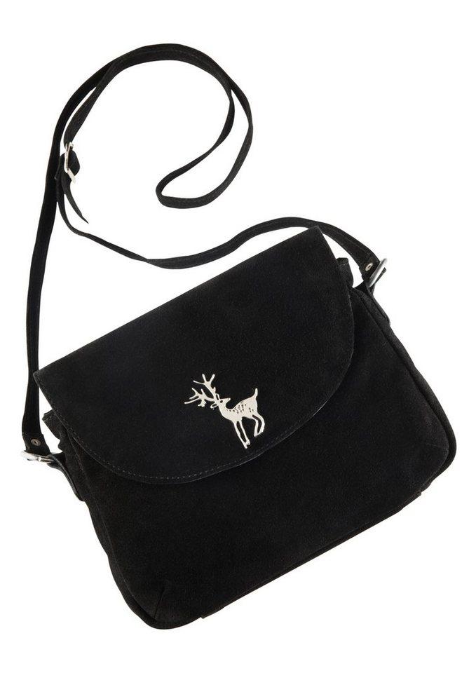 Trachtentasche mit Hirschapplikation, KABE Leder-Accessoires in schwarz