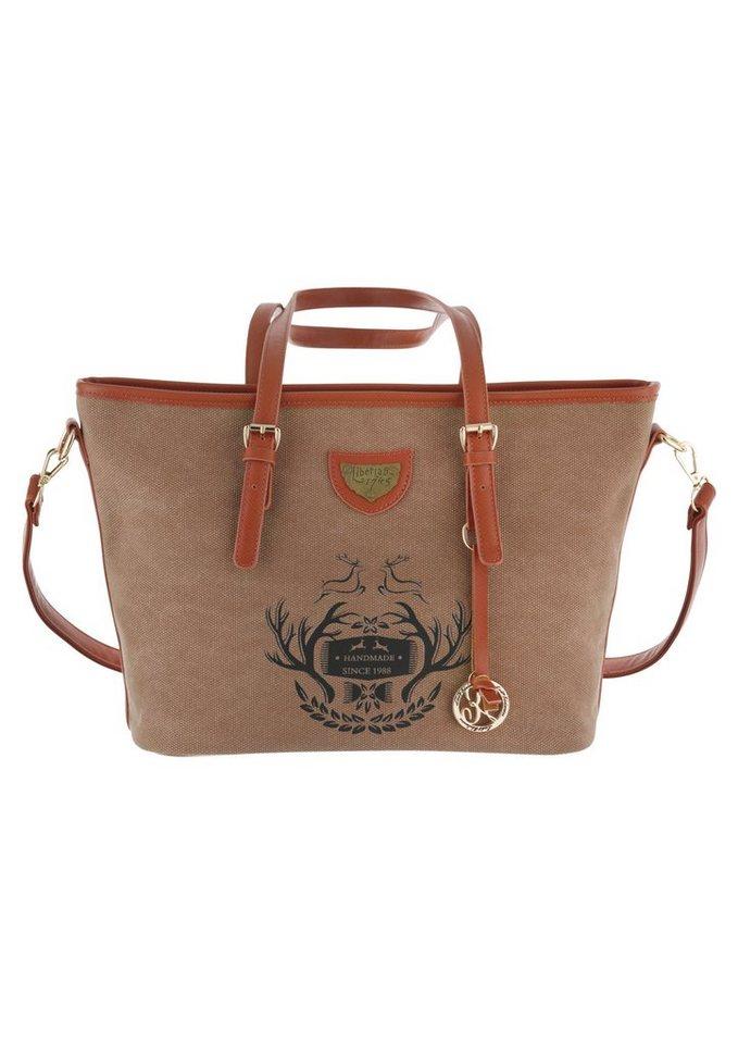 Trachtentasche mit Hirschprint, Lady Edelweiss in hellbraun