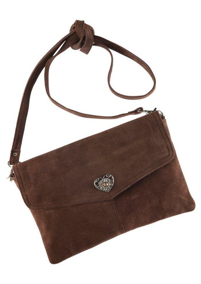 Trachtentasche mit Herzapplikation, KABE Leder-Accessoires in dunkelbraun