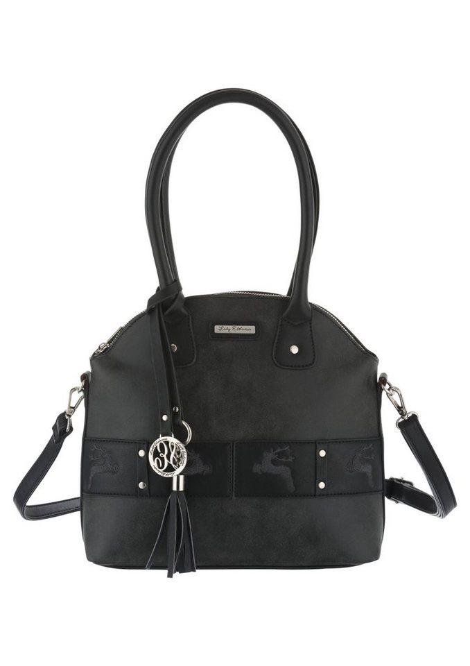 Trachtentasche mit Applikation, Lady Edelweiss in schwarz