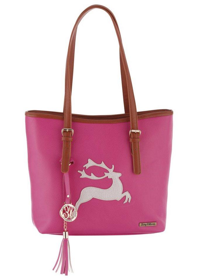 Trachtentasche mit Hirschapplikation, Lady Edelweiss in pink