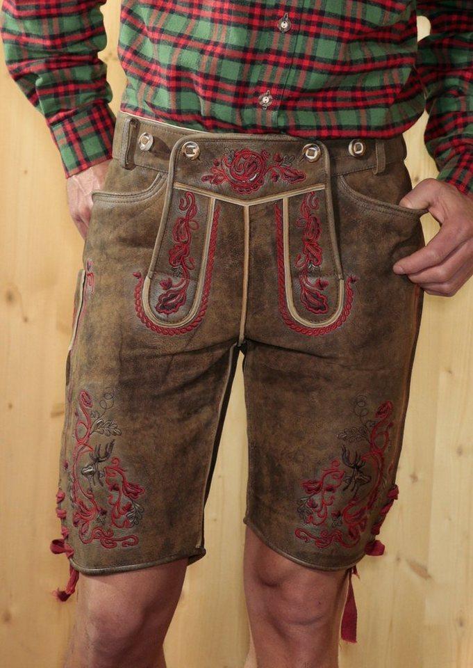 Trachtenlederhose kurz Herren mit Stickerei, Stockerpoint in dunkelbraun/rot