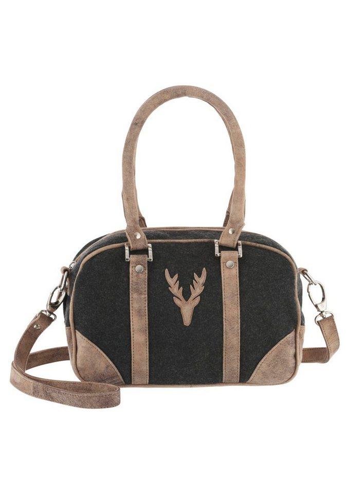 Trachtentasche mit abnehmbaren Schulterriemen, Country Line in anthrazit/senf
