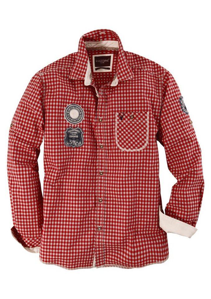 Trachtenhemd mit Aufnäher-Patches, Krüger Buam in rot/grau