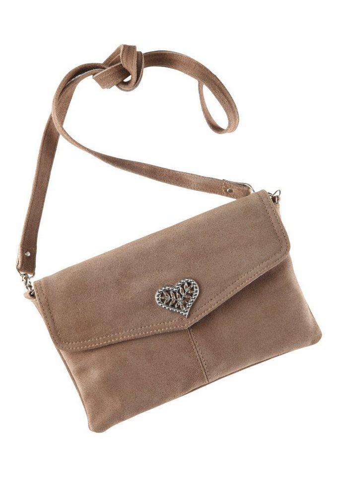 Trachtentasche mit Herzapplikation, KABE Leder-Accessoires in hellbraun