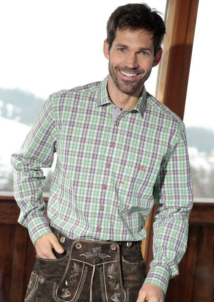 Trachtenhemd im Karo-Design, OS-Trachten in grün/braun
