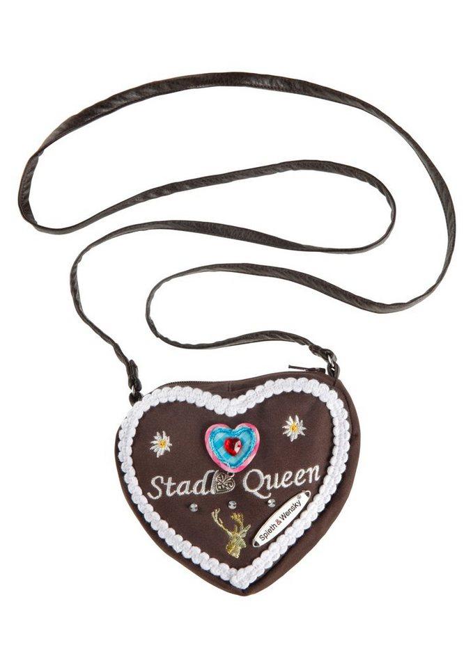 Trachtentasche in Herzform, Spieth & Wensky in dunkelbraun