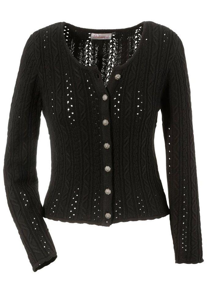 Trachtenstrickjacke Damen mit Zopfmuster, Stockerpoint in schwarz