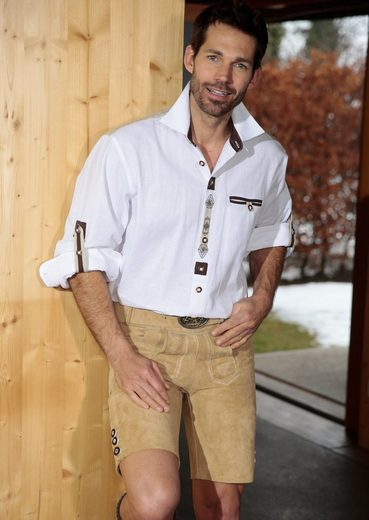 Trachtenlederhose kurz Herren mit Stickelementen, Country Line