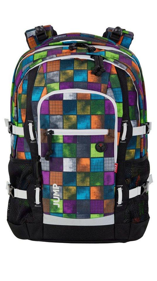 4YOU Schulrucksack mit Laptop- und Tabletfach, Miami Squares, »Jump« in miami squares