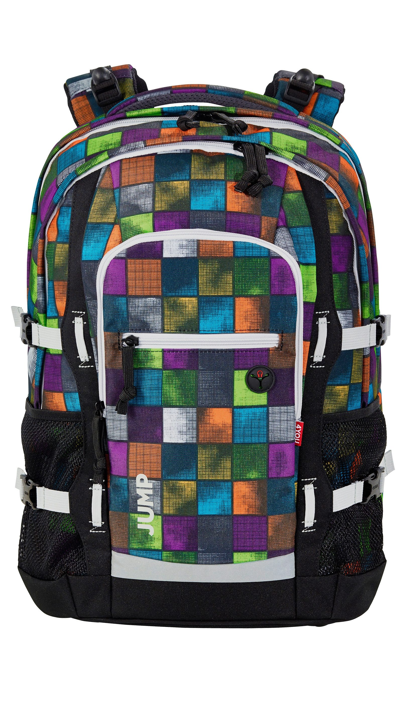 4YOU Schulrucksack mit Laptop- und Tabletfach, Miami Squares, »Jump«
