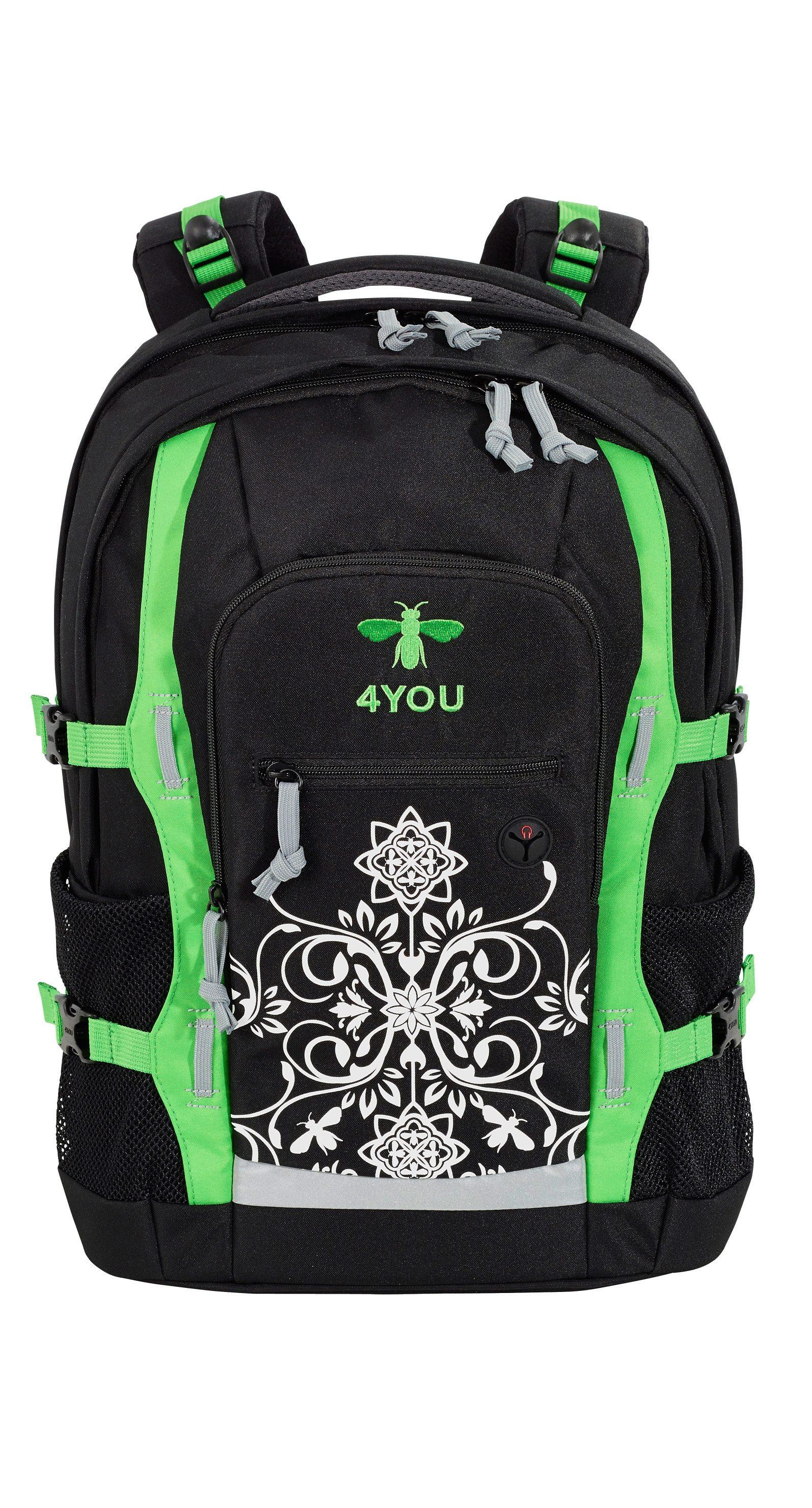 4YOU Schulrucksack mit Laptop- und Tabletfach, Bee Ornamental, »Jump«