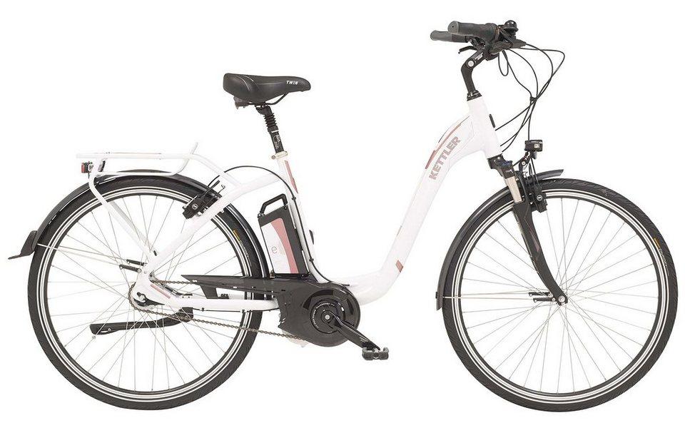 Kettler E-City-Bike, Damen, 28-Zoll, 7 Gang Shimano, Freilauf, 12 Ah, »Twin« in white, glossy