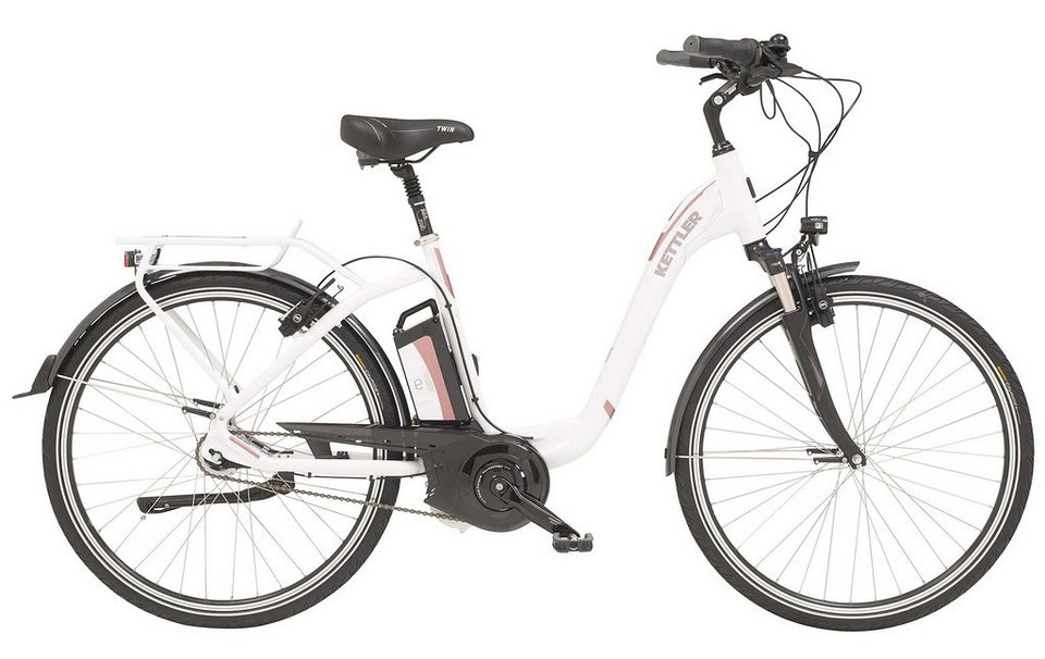 Kettler E-City-Bike, Damen, 28-Zoll, 7 Gang Shimano, Rücktritt, 15 Ah, »Twin« in white, glossy