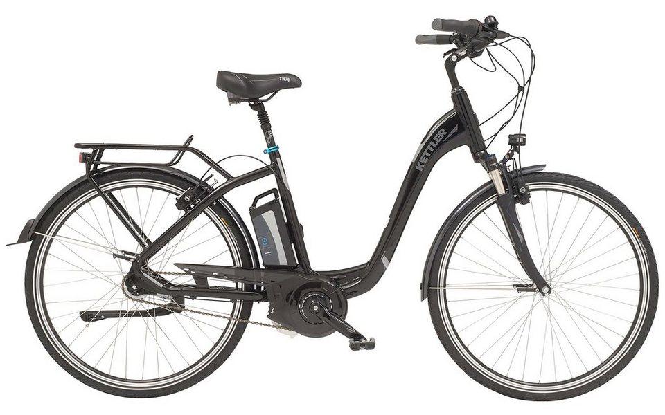 Kettler E-City-Bike, Damen, 28-Zoll, 7 Gang Shimano, Freilauf, 12 Ah, »Twin« in black magic, glossy