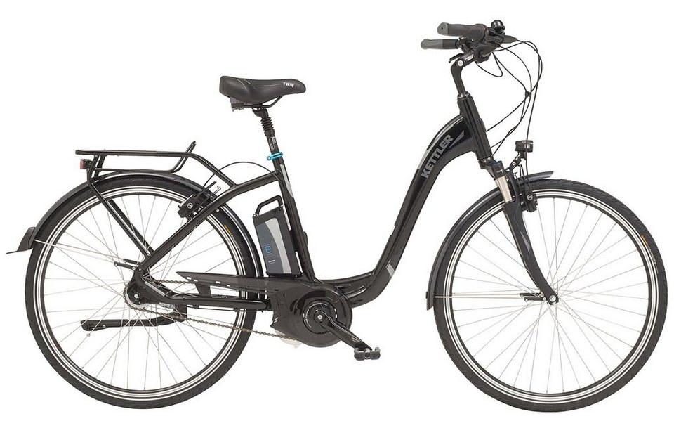 Kettler E-City-Bike, Damen, 28-Zoll, 7 Gang Shimano, Rücktritt, 15 Ah, »Twin« in black magic, glossy