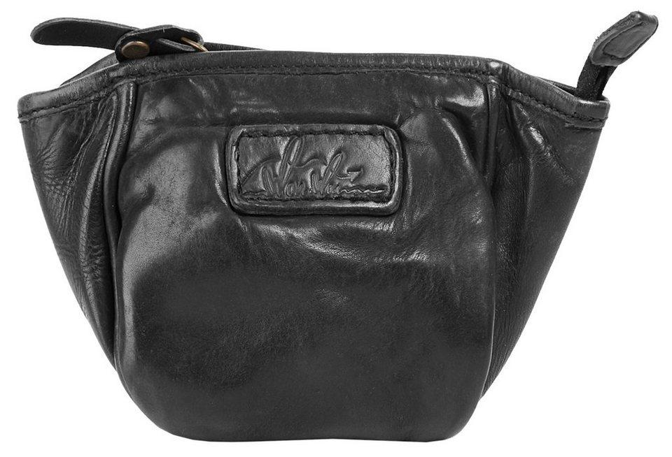 WouWou Leder Kosmetik Tasche in schwarz