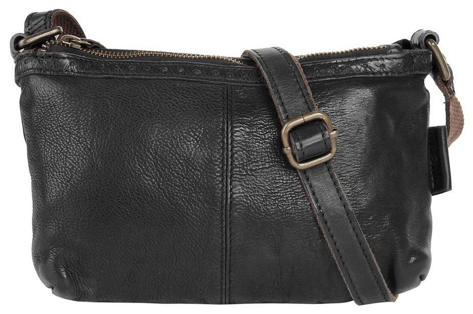 WouWou Leder Damen Umhängetasche in schwarz