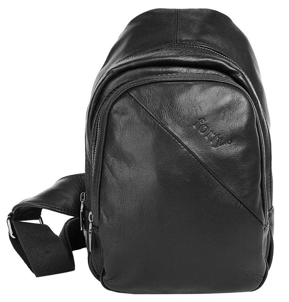 Forty degrees Leder Crossbody Bag in schwarz