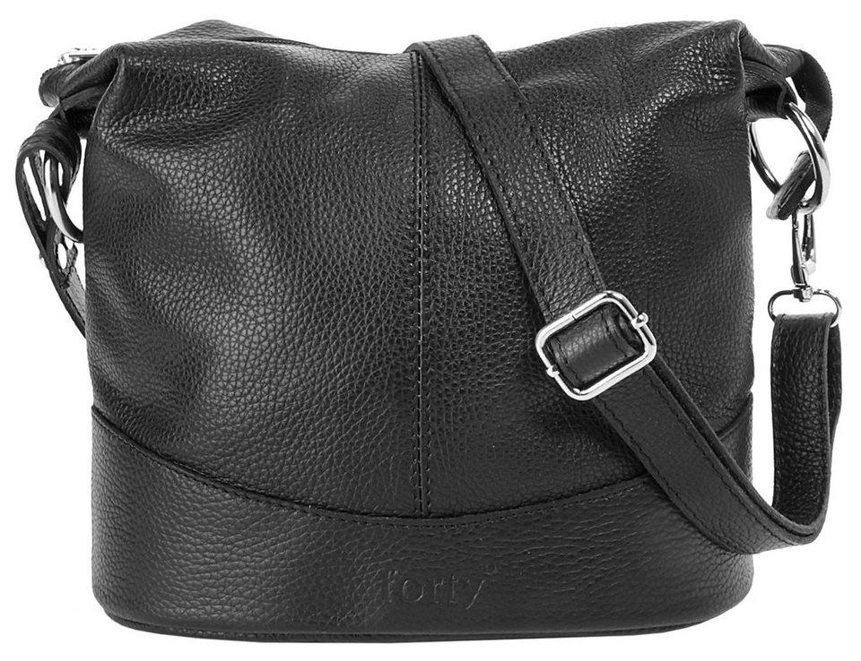 Forty degrees Leder Damen Umhängetasche in schwarz