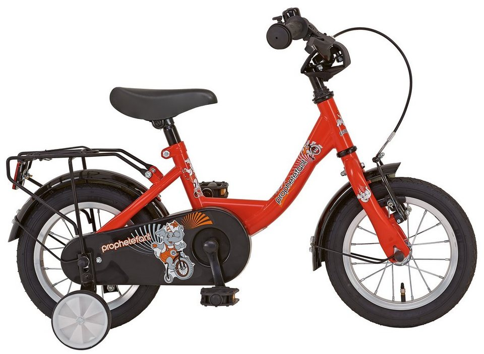 Prophete Kinderrad, 12 Zoll, 1 Gang, Rücktritt, Stützräder, rot, »Einsteiger« in rot