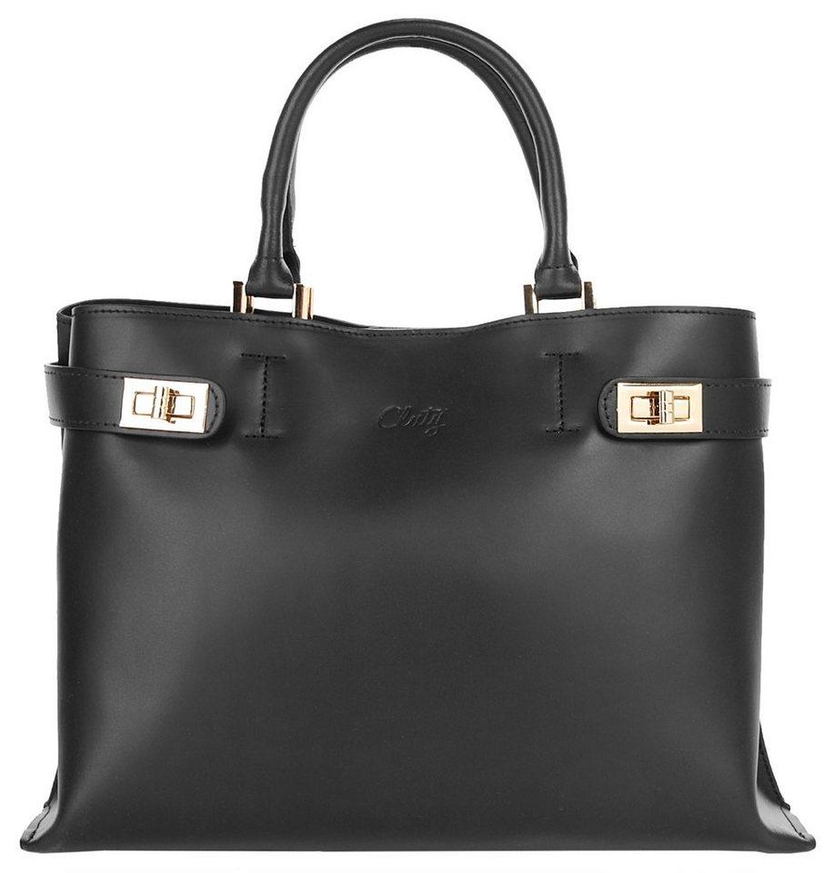 Cluty Leder Damen Shopper in schwarz