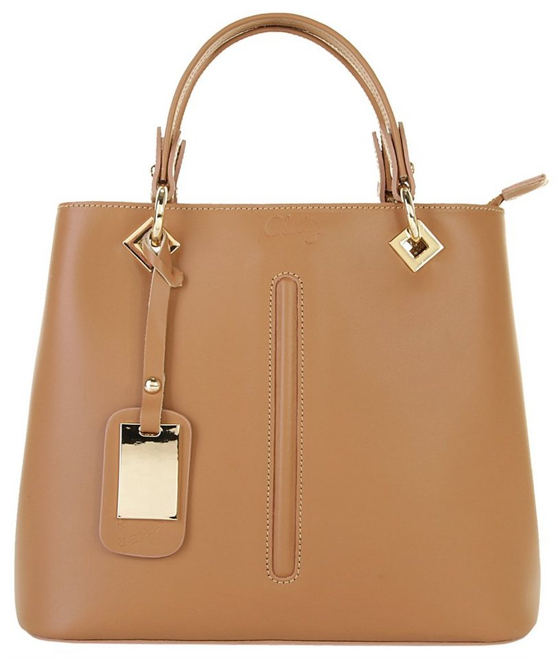Cluty Leder Damen Handtasche in cognac
