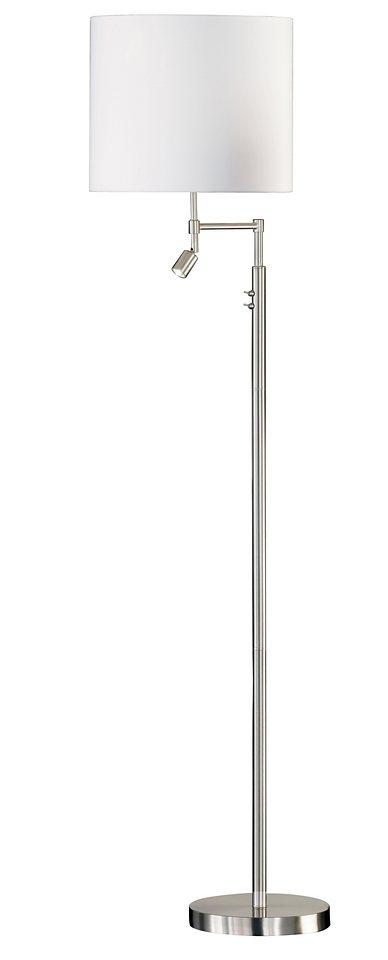 Honsel Leuchten Stehleuchte, »SVEA« (2flg.) in nickelfarben matt mit Stoffschirm weiß