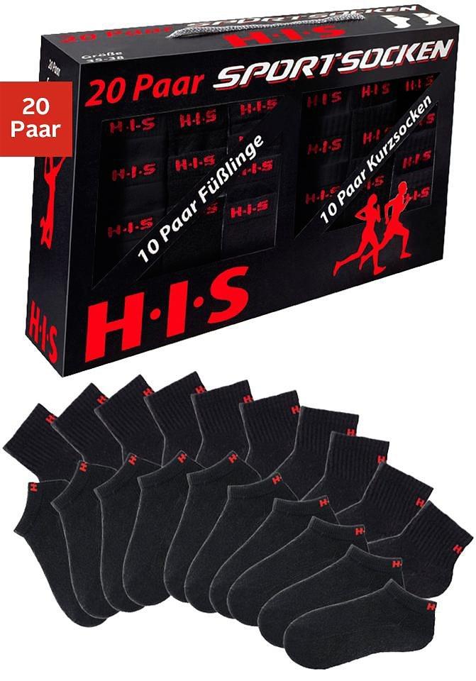 H.I.S Sportive Füßlinge & Kurzsocken (20 Paar) in der Multibox in 20x schwarz