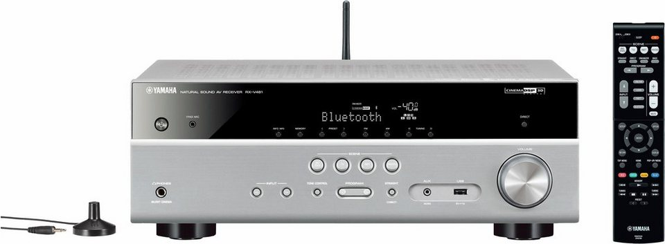 Yamaha RX-V481 5.1 AV-Receiver (Hi-Res, Spotify Connect, Airplay, WLAN, Bluetooth) in titansilberfarben