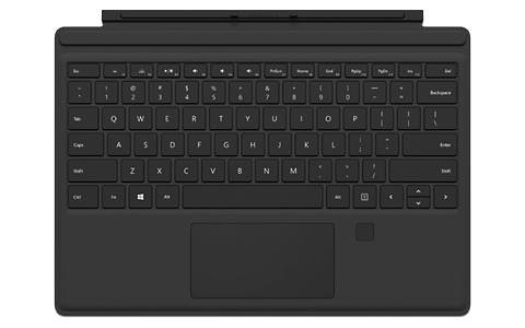 Microsoft Surface Pro 4 Tastatur mit Fingerprint ID Type Cover in Schwarz