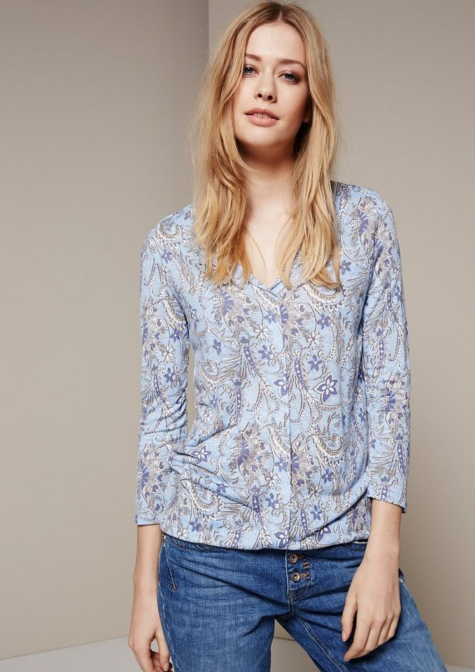 COMMA Leichtes 3/4-Arm Shirt mit verspieltem Alloverprint in sky AOP batik flower