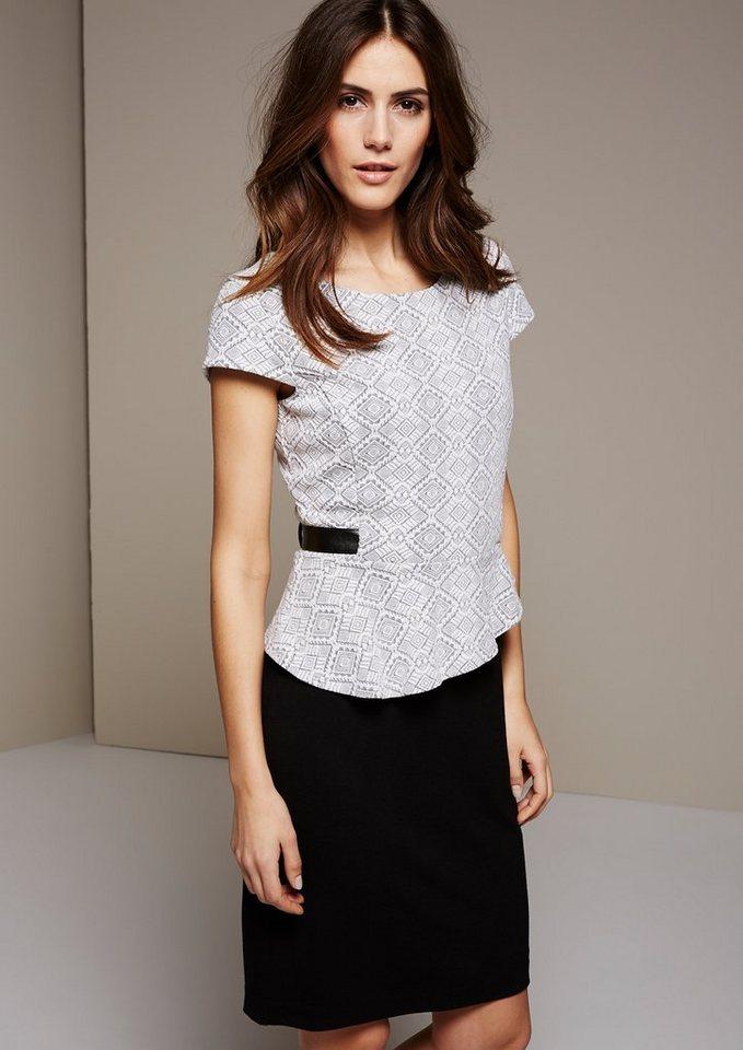 COMMA Edles Kleid mit schön gestaltetem Jacquardmuster in white AOP