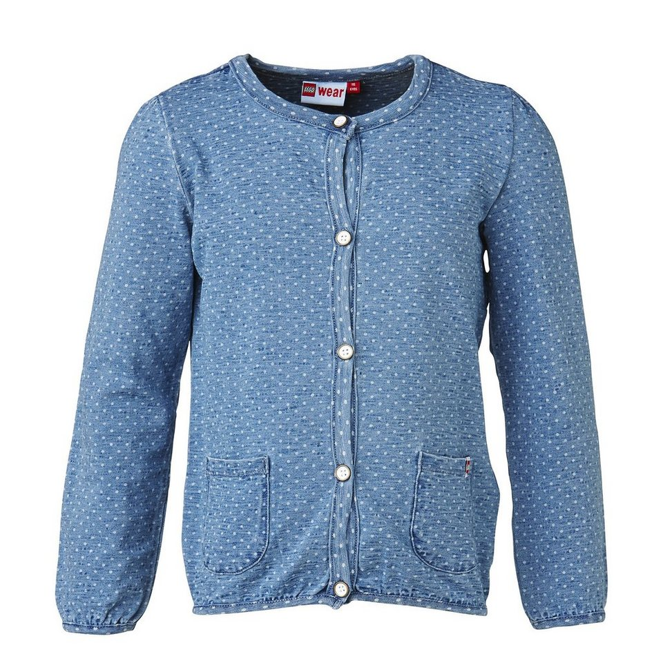 "LEGO Wear Brick N Bricks Jersey-Cardigan Sage Jerseyjacke ""Smile"" in light denim"